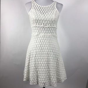 Charming Charlie White Textured A Like Dress Large